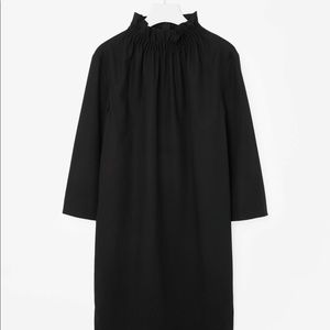COS dress with gathered neckline in black